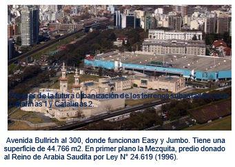 Avenida Bullrich al 300, donde funcionan Easy y Jumbo. Tiene una  superficie de 44.766 m2. En primer plano la Mezquita, predio donado al Reino de Arabia Saudita por Ley N° 24.619 (1996).