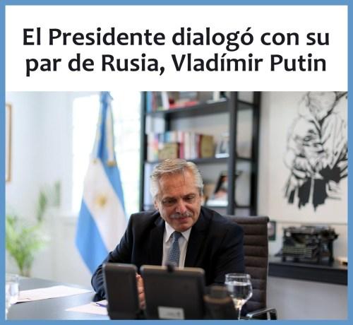 El presidente Alberto Fernández en diálogo con Vladímir Putin