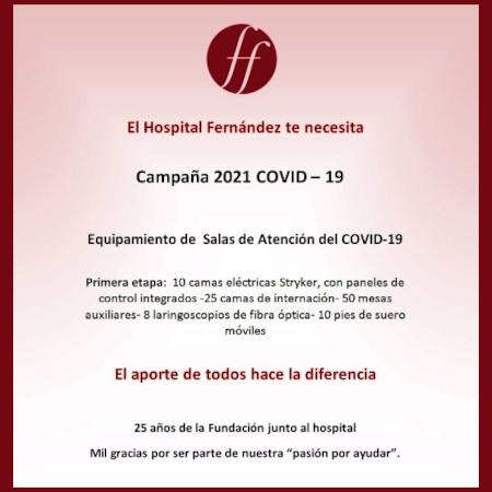Campaña 2021 Covid-19 en solidaridad con el Hospital Fernández