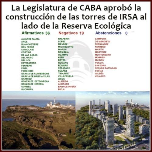La Legislatura de CABA votó a favor de las torres de IRSA en La Boca