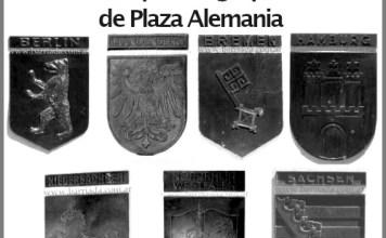 Robaron 7 escudos de la Fuente Riqueza Agropecuaria ubicada en la Plaza Alemania