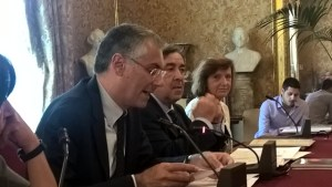 The President of the University of Palermo Fabrizio Micari and the mayor Leoluca Orlando at the press conference