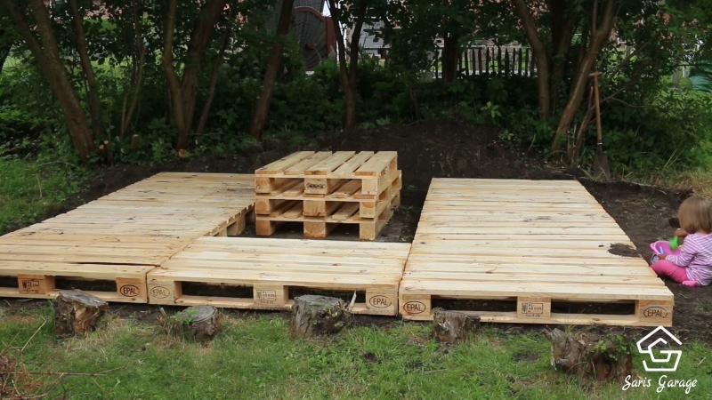 Terrasse aus Paletten selber bauen  Europaletten DIY