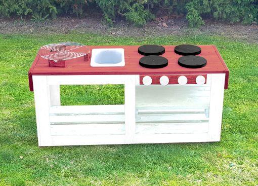 Kinderküche Matschküche 360 Grad aus Paletten - rot