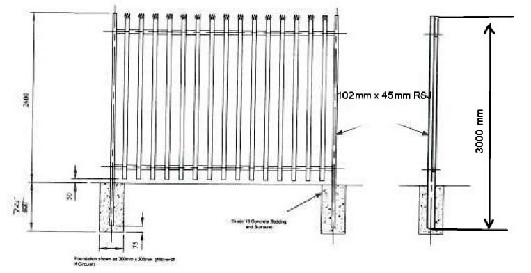 D Section Palisade Fencing, Supplied in Kit Form
