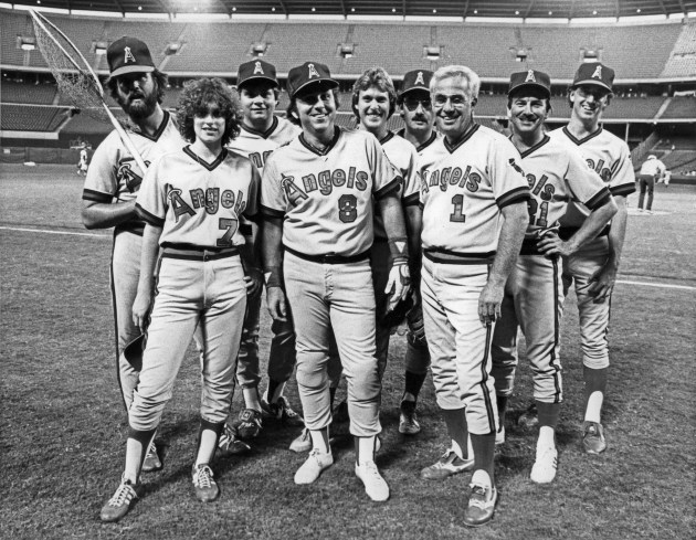 Lisa Saxon and the press corps covering the (then) California Angels suit up in 1983 for an exhibition game vs. the Happy Days cast. Lisa hit a single off The Fonz. Photo: V.J. Lovero