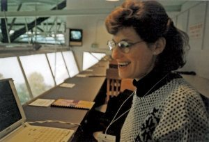 Lisa Saxon, seen here at the University of Washington's Husky Stadium press box in 1995, covered hundreds of Pac 10 games for the Riverside Press-Enterprise. Photo: Scott Howard-Cooper
