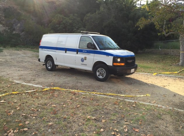 L.A. County Coroner's van on June 24, 2016 in Temescal Canyon. Photo: Sue Pascoe