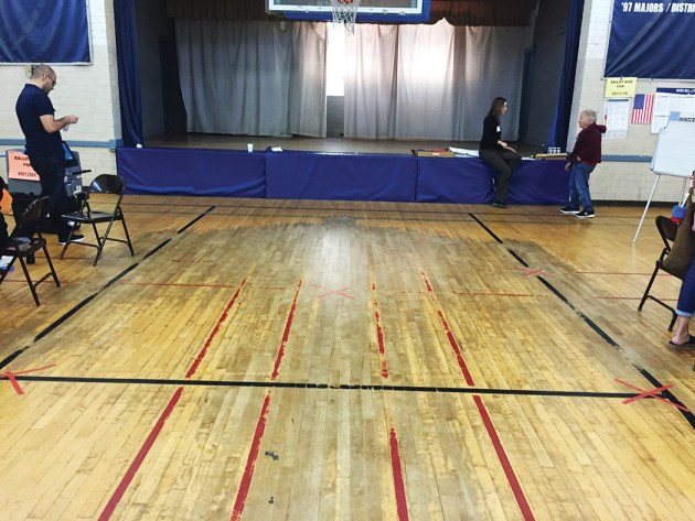 The basketball floor in the old gym needs to be refinished or replaced.