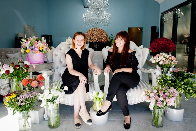 Eliza Glants (left) and Alisa Tovmanyan will design the perfect flower arrangement in one of their signature hat boxes. Photo: Lesly Hall