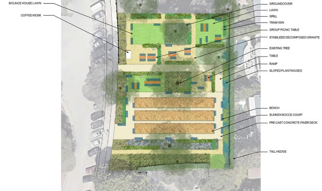 Rendering of the bocce courts proposed for Palisades Recreation Center.