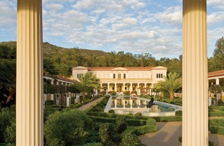 The J. Paul Getty Museum, opened in 1974, was modeled after the Villa dei Papiri, the largest and most luxuriously furnished seaside villa that had been found during the early excavations at Herculaneum in Italy in the 1700s. Photo copyright J. Paul Getty Trust