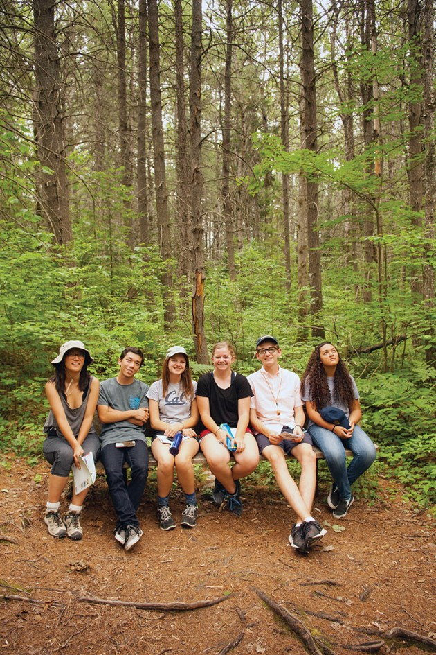 Taking a break along a trail in Algonquin Provincial Park are (left to right) Yuko Nakano, Greg Gladkov, Claire Dubin, Caroline Bamberger, Noah Alcus and Makayla Michelini. Photo: Steve Engelmann
