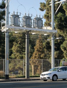 This pole-top distribution station was put up without Coastal Commission approval. See Page 15 Photo: Bart Bartholomew
