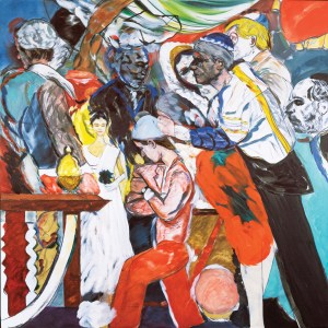 The Wedding (1989-93) by R.B. Kitaj. David Hockney was best man and Frank Auerbach gave away the bride at the early 18th-century Sephardic Synagogue. Lucian Freud and Leon Kossoff, along with Auerbach, helped to make up an artistic minyan, the group of 10 Jewish men required for an Orthodox service. Photoo courtesy Tate, London 2016