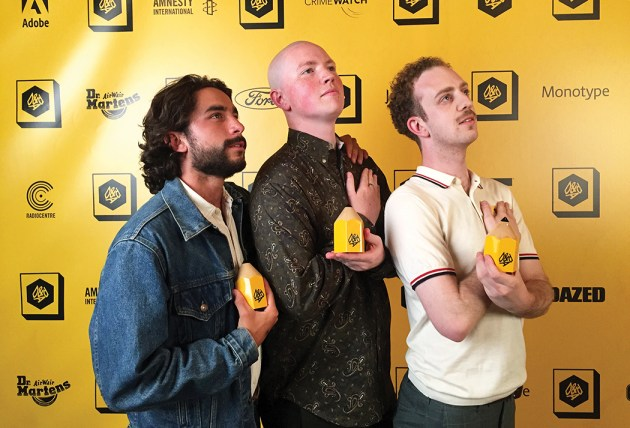 Johnny Fracchiolla (left) won the D&AD Yellow Pencil Award for up-and-coming designers along with friends Andrew Diemer (center) and Niccoló Debole for their satirical web store designiswork.com.
