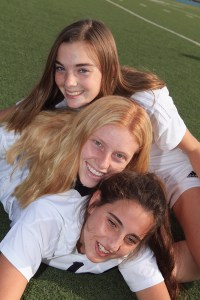 PaliHi soccer players (top) Meghan Jones, (middle) India Holland and Sammy Truman at the stadium before a team photo. Photo: Bart Bartholomew