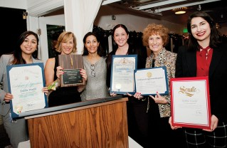 Presenting certificates of appreciation to Debbie Warfel (second from the left) were Kimberly Morosi (City Attorney Mike Feuer's office), Maryam Zar (Community Council President), Stephanie Cohen (L.A. County Supervisor Sheila Kuehl's office), Janet Turner (Representative Ted Lieu's office) and Lila Kalaf (Senator Ben Allen's office)