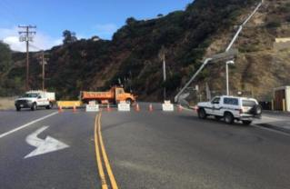 This section of Topanga Cyn Rd between PCH and Brookside will be closed through Jan. 16 following mudslides shutting down this section of road on Jan. 9. Credit: Palisades Patrol