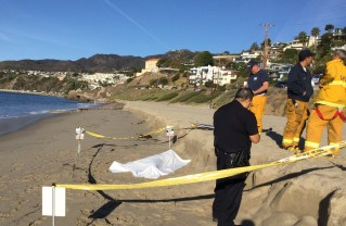 Female body found on the beach near Porto Marina Way in Pacific Palisades Jan. 13, 2018. Credit: Palisades Patrol
