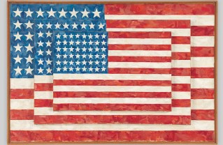 Above: Jasper Johns, Three Flags, 1958. Right: Jasper Johns, Fool's House, 1961-62. ©Jasper Johns/Licensed by VAGA, New York, NY