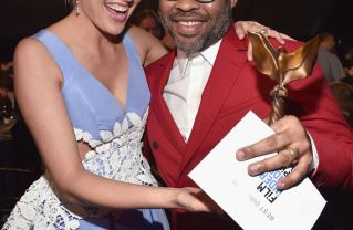 "L-R:  Greta Gerwig who won the Best Screenplay Spirit Award for ""Lady Bird' with fellow director Jordan Peele who scored both Best Director and Best Features awards for ""Get Out."" Photo by: Kevin Mazur/Getty Images Photo Courtesy of Getty Images"