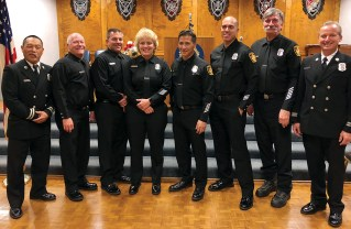 Members of the B-shift from Station 69 at the Legion American Law and Order Night were (left to right) Captain Thomas Kitahata, Firefighters Rich Tucker and Mike Thompson, Engineer Yvonne Gutierrez, Firefighter/paramedic Mark Glenchur, Firefighter Jeff Escalante, Engineer Brian Koneval and Captain Robert Bates.
