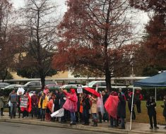 Paul Revere teachers strike outside the middle school Monday morning. Photo: Sam Catanzaro.
