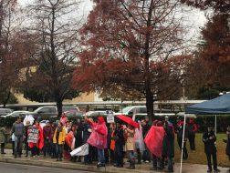 Paul Revere teachers strike outside the middle school Monday morning. Photo: Sam Catanzaro.