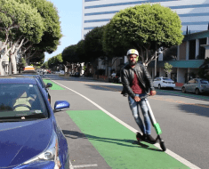 As of Jan. 1, e-scooter riders over the age of 18 in California are not required to wear a helmet. Photo: Edify TV.