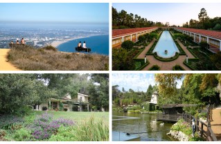 Clockwise from top-left: The stunning view that awaits hikers at the end of the Los Leones Trail, the Getty Villa, Self-Realization Fellowship Lake Shrine, Will Rogers State Historic Park. Photos: Courtesy.