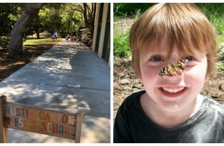 A student at Rustic Canyon Nursery School (right) shares a magical moment with a Monarch butterfly. Photos: Courtesy.