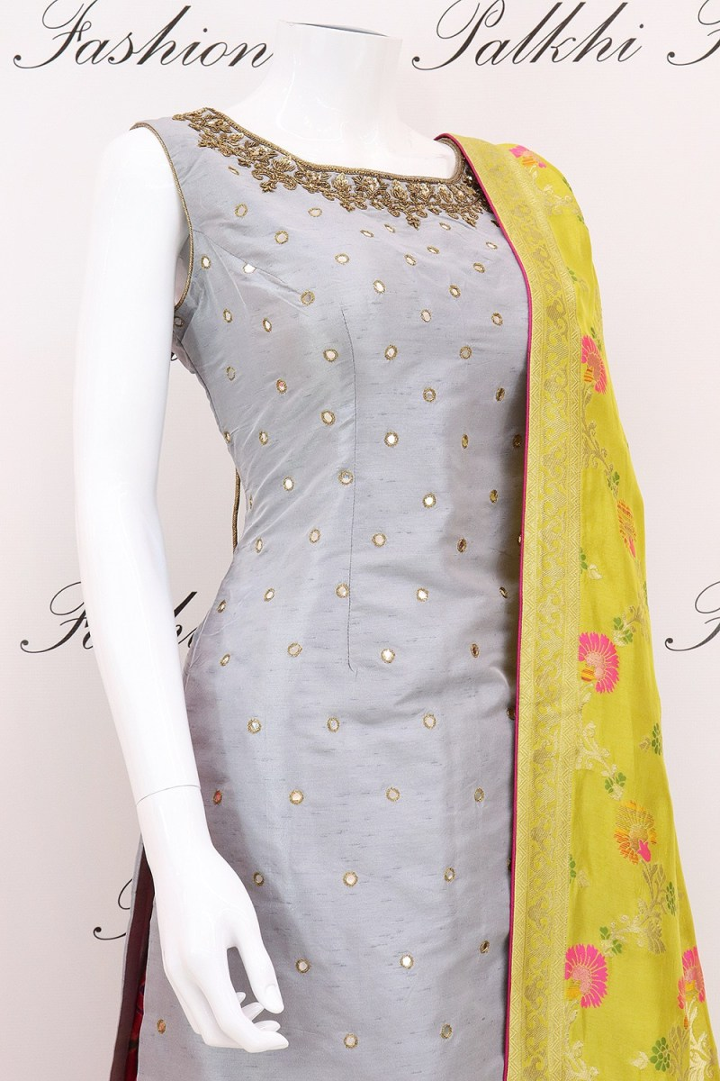 Dazzling Pure Silk Grey Patiala Suit With Attractive Designs