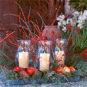 christmas, holiday, hurricane, candles, berries, garland, apples, greenery, centerpiece, vignette