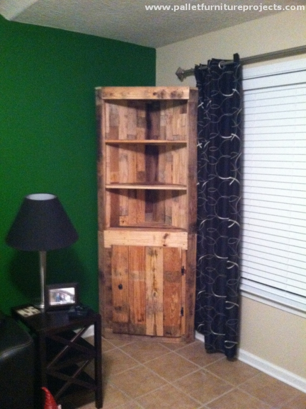 Pallet Corner Shelf Ideas  Pallet Furniture Projects