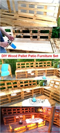 DIY Wood Pallet Patio Furniture Set | Pallet Furniture ...
