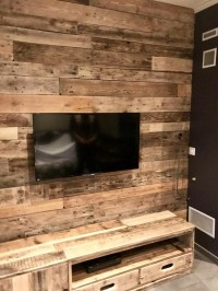 Repurposed Wood Pallet Wall Cladding for TV | Pallet Ideas