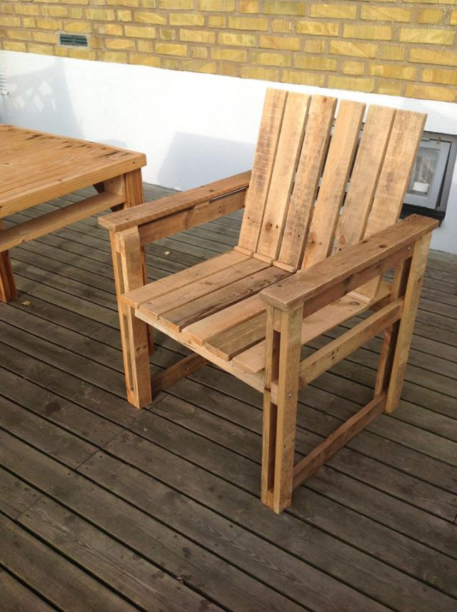 plastic adirondack chair how to paint cane back chairs recycled pallets wood armchair ideas | pallet