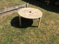 Recycled Pallets Cable Drum Table with Folding Legs
