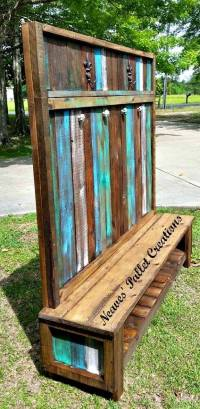 Wooden Pallets Made Customized Hall Tree | Pallet Ideas ...