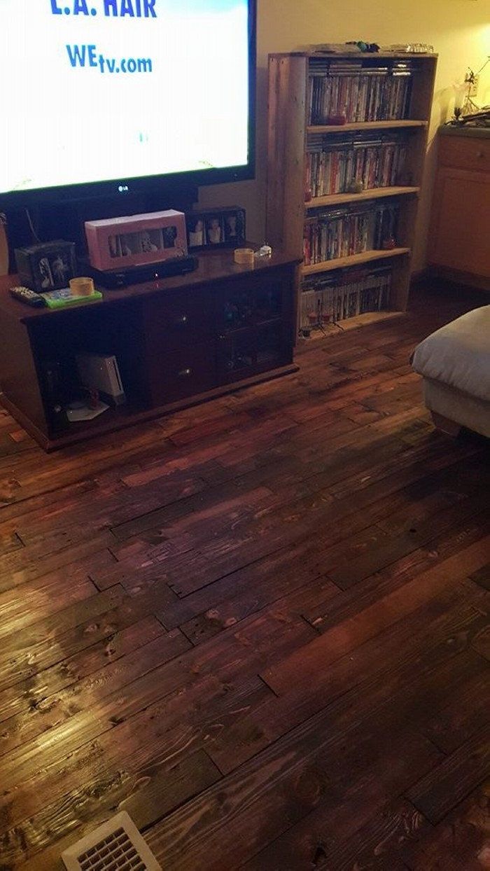 Pallets Wood Made Floor  Pallet Ideas