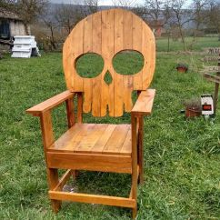 Wooden Skull Chair Navy Tufted Lawn