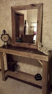 Reclaimed Pallets Wood Entryway Table with Mirror | Pallet ...