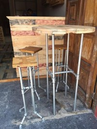 Iron Pipes and Pallets Upcycled Bar Benches with Table ...