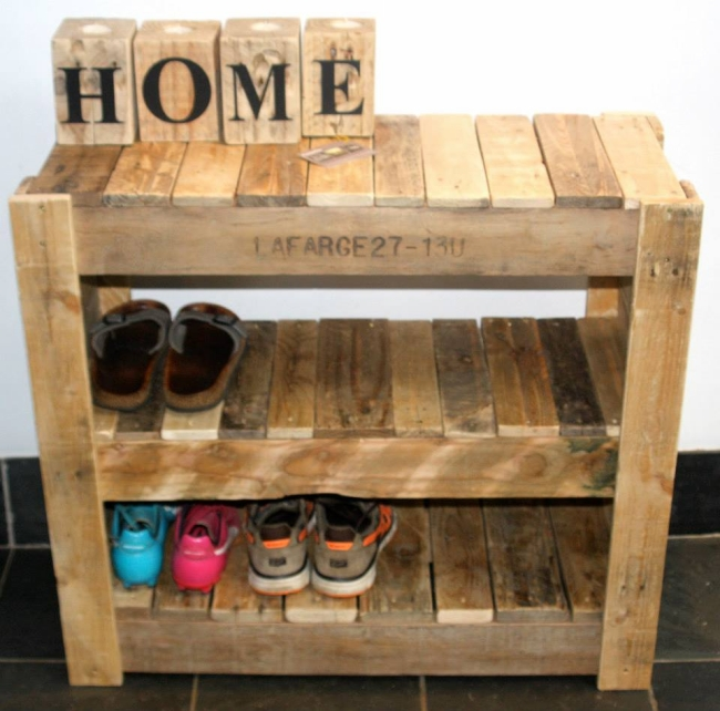 Recycled Pallet Shoe Rack Pallet Ideas