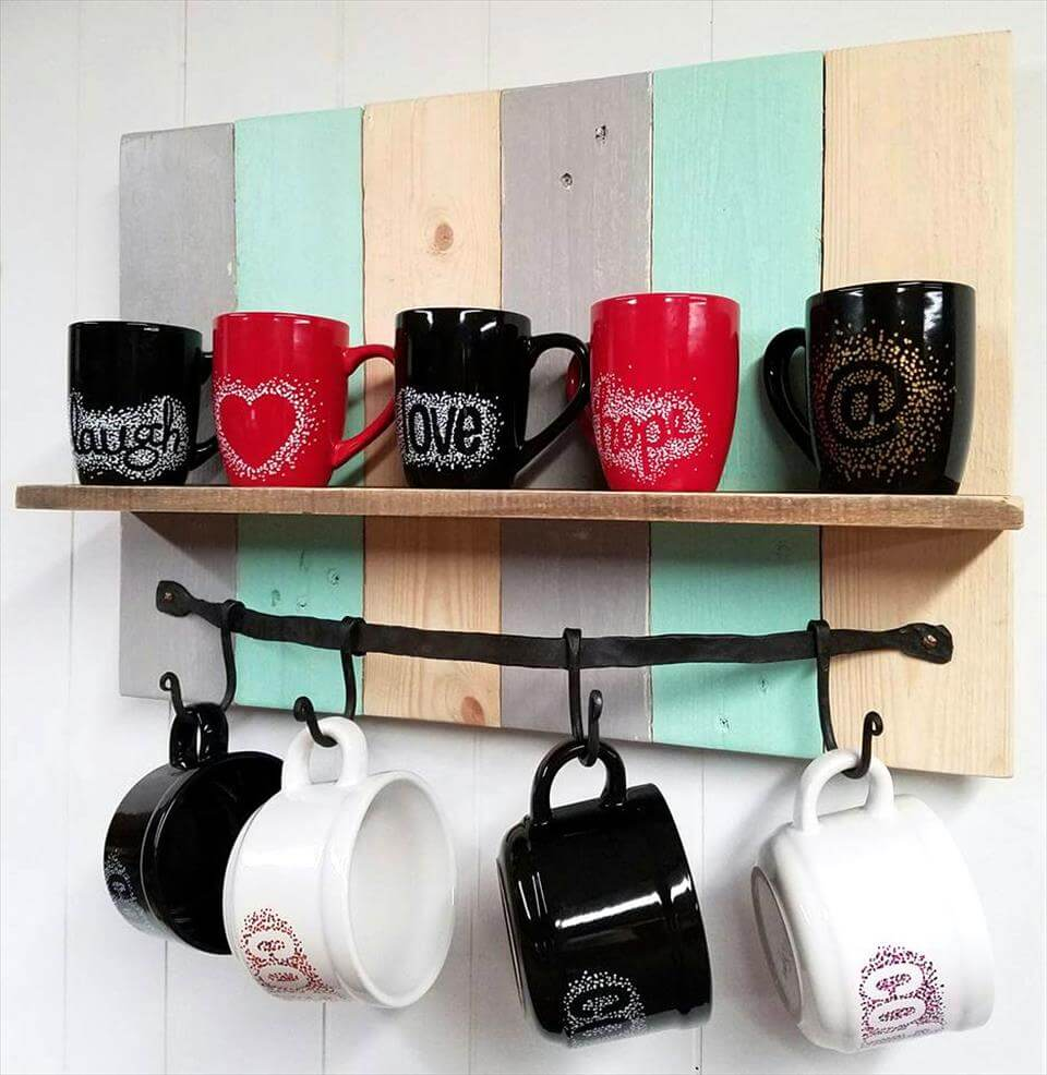 Multi Colored DIY Pallet Coffee Mug Rack  Shelf  Pallets Pro