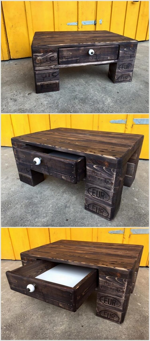 Mini Pallet Table with Drawer