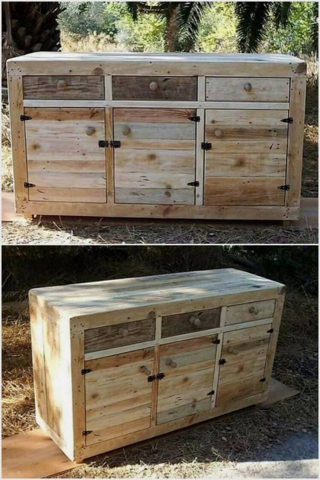 Recycled Wood Pallet Table Cabinet