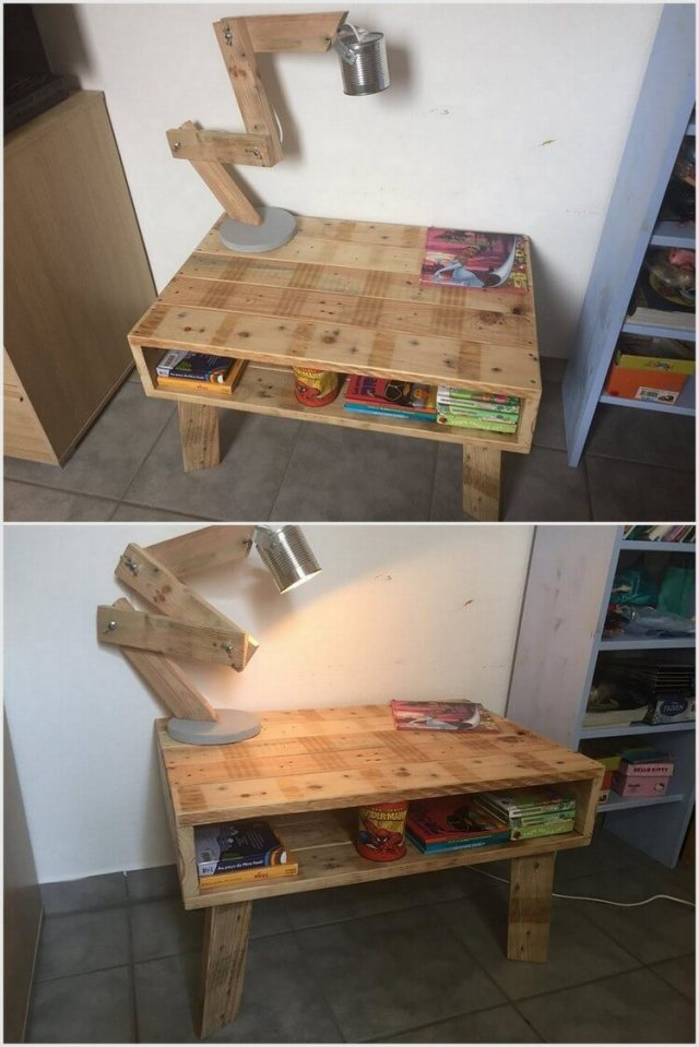 Wood Pallet Study Table with Lamp