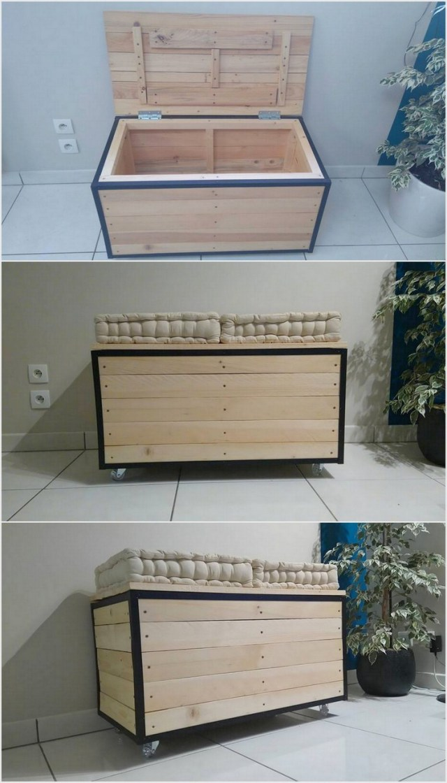 Wood Pallet Seat with Storage